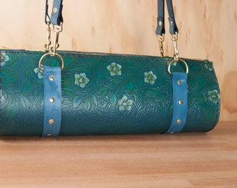 Leather Barrel Bag Purse - Handmade Women's Shoulder Bag in Tooled Western Floral Pattern - One of a kind - Blue, White and Green