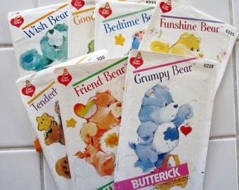 Butterick CARE BEAR Patterns Vtg 80s CHOICE of Care Bear Butterick 6228 6231 6233 6234 299 300 6225