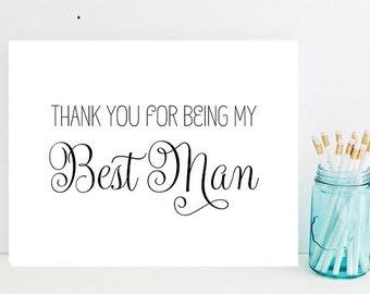 Card for Best Man - Best Man Thank You Card - Best Man Gift - Thank you for being my Best Man - wedding thank you cards - wedding thank you