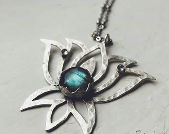 Meditation Lotus Necklace with Labradorite and Rainbow Moonstone - Namaste Pendant, Yoga Jewelry, Protection Stones, Heart Chakra, Bohemian