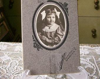Vintage Photo Little Girl Black & White Big Bows Sweet Smile Antique Portrait