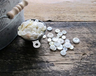 Vintage White Buttons - Half Cup
