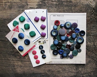 Vintage Buttons - Blue, Green and Purple