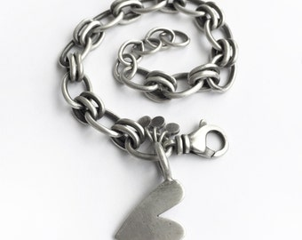 Sterling Silver Hand Cut Heart Tag Bracelet Vintage Cable Chain Recycled Vintage Fork Adjustable Customizable