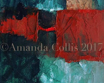 Fine art print from painting, teal, vermilion red, viridian, cool deep greens, A6 to A3 size
