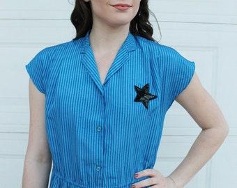 Vintage STAR Dress. Vintage Blue Dress. Blue Black STAR Dress. Retro Blue Stripe Dress. Vintage stripe dress. Black Sequin STAR Dress. diy