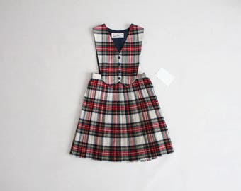 girls plaid dress | wool dress | vintage girls dress