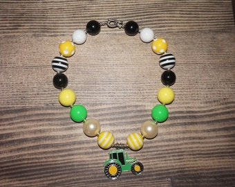 Yellow green tractor necklace green tractor necklace green black yellow necklace chunky bead necklace