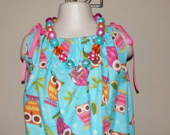 Pillowcase dress owl dress chunky bead necklace dress necklace set blue pink owl dress