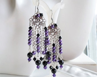Purple Black Long Chandelier Earrings, Long Pearl Earrings, Purple Chandelier Earrings, Boho Chandelier Earrings, Antique Silver Earrings