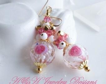 Murano Glass Earrings, Pink White Rose Venetian Bead Glass Earrings, Murano Gold Glass Earrings, White Pink Murano Glass Drop Earrings, Pink