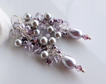 Mauve Purple Crystal Pearl Cluster Earrings, Light Purple Pearl Earrings, Long Pearl Cluster Earrings, Silver Pearl Earring, Purple Earrings
