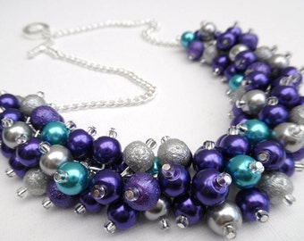 Purple and Silver Pearl Beaded Necklace, Bridesmaid Jewelry, Cluster Necklace, Chunky Necklace, Bridesmaid Gift, Pearl Jewelry, Purple Gift