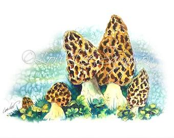 Morel Mushrooms Watercolor Nature Print Instant Download: Downloadable Print from Watercolor Painting, Mushroom Decor for Mushroom Hunters