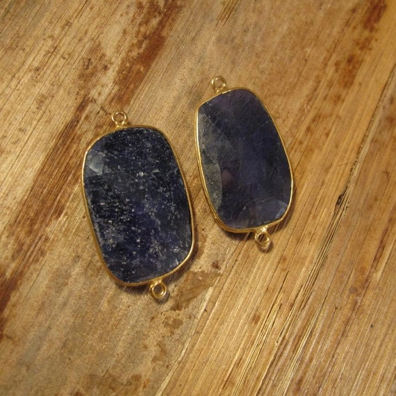 2 Sapphire Pendants, Matching Gold Plated Irregular Bezel Charms, Double Sided, Faceted Blue Gemstones, 33mm x 19mm (C-Sa1d)