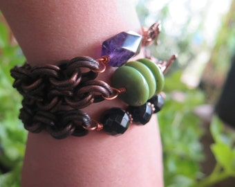 Chunky Antique Copper Chain Bracelet - Purple Amethyst - Crystal Vibes Free Spirited Jewelry - Funky Bohemian Gypsy - Toggle Gift for Her