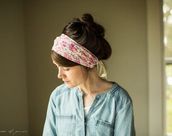 Stretch FLORA Headwrap - Garlands of Grace Pink Floral headband scarf convertible headcovering