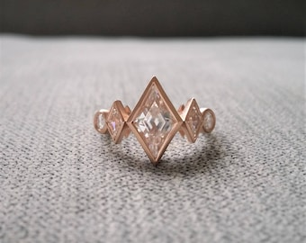 "Antique Moissanite Kite Shaped Geometric Bohemian Rustic Engagement Ring Brushed Rose Gold 1920s Copper Gemstone PenelliBelle ""The Harlow"""