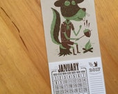 Squirrel with acorns roasting on campfire mini calendar for 2017 Hand Printed Letterpress