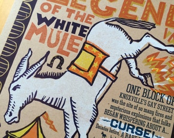 LEGEND of the WHITE MULE hand printed letterpress print