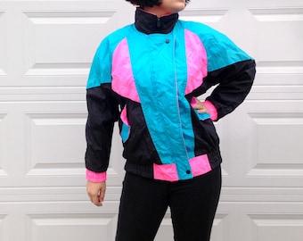 1990's Neon Windbreaker in Women's Medium . Blue Pink and Black . G-4000 . Parachute Jacket . Men's Small Athletic Jacket Ski Running