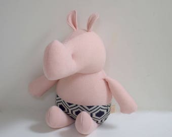 Handmade Rhino stuffed small animal OOAK Pink Rhino rag doll eco toy upcycled soft wool cotton sweater soft plush Rhino bubynoa small rhinos