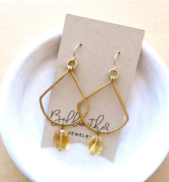 Citrine Fan Earrings