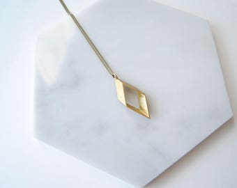 Modern Rhombus Geometric Pendant. Minimalist Diamond Necklace For Her. Math Jewelry For Teacher. Gift For Him Man. Bohemian Layering Charm.