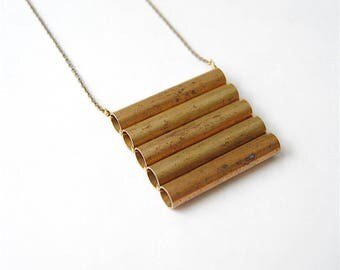 Brass Shield Statement Necklace. Bohemian Jewelry for Strong Women. Geometric Stacked Bars Tubes Pendant. Long Brass Chain. Free Shipping.