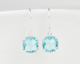 Aquamarine Silver Earrings, Aquamarine Silver Square Earrings, March Birthstone Silver Earrings, Bridesmaid Earrings, #794