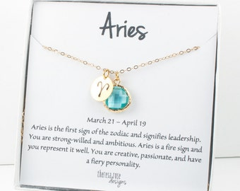 Aries Zodiac Gold Necklace, Aries March Necklace, March Birthday Jewelry, Zodiac Necklace, Astrology Gold Necklace