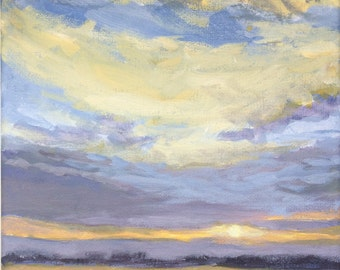 Golden Morning - 8x8 Original Landscape Painting Clouds Sky Sunrise Sunset Cloud Sun