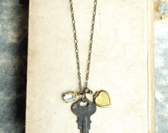 Key and Locket Long Necklace, Vintage Locket, Old Key Necklace, Long Chain, Lockets, Key Jewelry, Long Layering Necklace