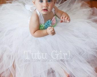 Pastel Tutu Dress, Flower Girl White Tutu with Pastel Flowers, Birthday Tutu Dress