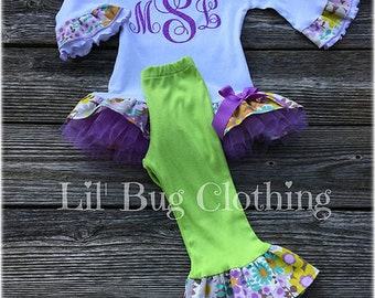 Spring Easter Personalized Girl Outfit,  Spring Ruffled Tulle Tee And Leggings, Toddler Girl Clothes, Easter Girl Outfit