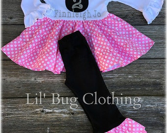 Pink Minnie Mouse Girl Outfit, Minnie Mouse Tiered Top And Pant Outfit, Pink Minnie Birthday Girl Party Personalized Outfit