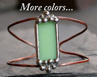 copper cuff bracelet mint green stained glass jadeite copper heat patina boho cuff wire cuff modern cuff simple cuff STUDDED CUFF