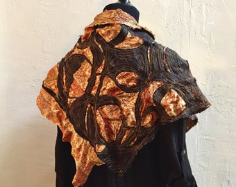 Ancestor Capelet #2 - Wearable Art by Dawn Patel, OOAK,  Handmade cape, modern art clothing, fine art wearables, buttoned scarf shawl, shrug