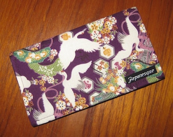 Checkbook Cover Japanese Flying Cranes, Pines and Kamon Design Purple