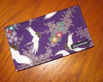 Checkbook Cover Japanese Flying Cranes Design Purple