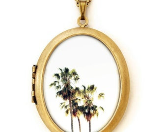 Photo Locket - The Palms - Deluxe Palm Tree California Photo Locket Necklace