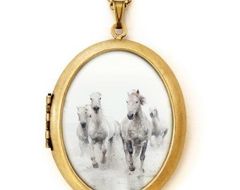 Horse Locket - Ghost Riders - Equestrian White Horses Photo Locket Necklace