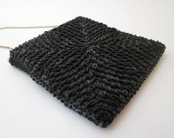 Vintage Black Beaded Bag, square purse, black clutch bag, black bead purse, bead and sequin bag, small black purse, small black bag