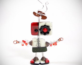 Robot Sculpture Fused Glass Kilnformed Mixed Media Decor Handmade Original Art Object Sterling Silver Wire Wrapping Steampunk Industrial