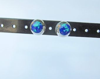 Vintage Sterling Silver and Inlaid Azurite Stud Earrings   1551B