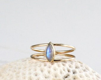 Moonstone marquise ring, moonstone engagement ring, double gold band ring, eco-friendy recycled gold ring, Rachel Wilder Handmade Jewelery