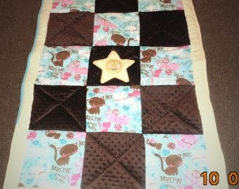 Cutest Soft Star applique baby quilt toddler blanket minky chenille flannel REVERSIBLE
