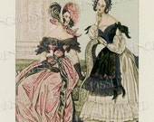 Historical Modes de Paris Fashion Series 1837 Two Victorian Ladies Pink and Black Antique French Postcard Digital Scan