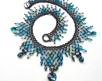 Bermuda Blue Crystal Collar Necklace, Statement Necklace, Mermaid Jewellery, Beadwoven Neckpiece, Blue Green Black, Heart Necklace