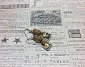 Real Steampunk handmade earrings vintage watch parts- Time In A Bottle earrings  Mechanical Romance